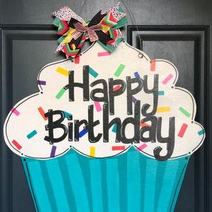 birthday countdown sign cupcake door hanger happy birthday sign birthday door sign cupcake sign Birthday door hanger cupcake door sign