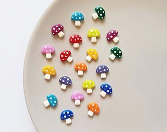 Tiny mushroom clay stud earrings, miniature mushroom jewelry, small stud earrings, fun colorful toadstool earrings, whimsical earrings