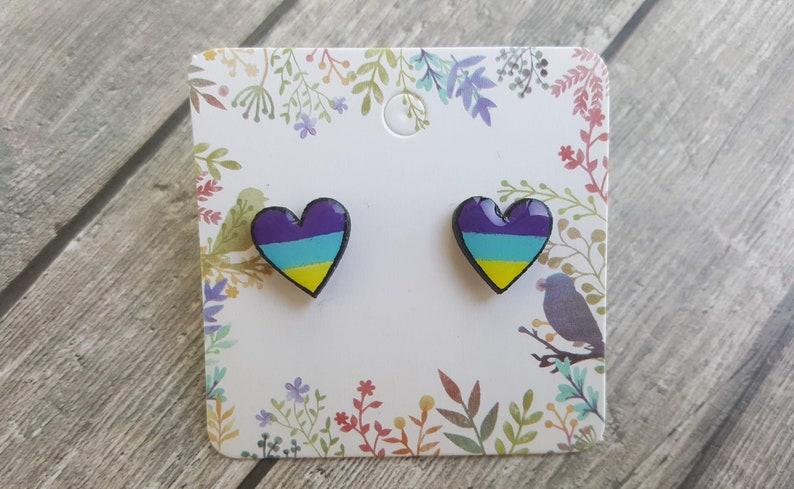 Heart Shaped Earrings Purple Blue Yellow Real Resin Earrings Tiny Stud Earrings