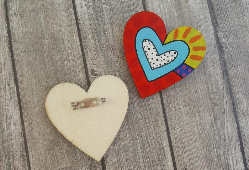hand painted brooch broken heart backpack pins Large wooden heart heart shaped pin wood shawl pin modernist brooch cloak pin
