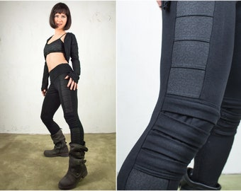 Cyberpunk Post Apocalyptic Leggings with Sacred Geometry black Print for Goth Clothes and Asashin Steampunk Leggings