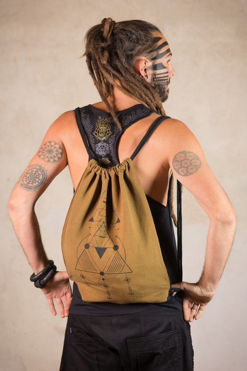 canvas backpack with inside pockets beach bag Drawstring Backpack Backpack Tron Army Vegan Backpack