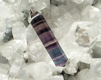 Fluorite Pendant / Sterling Silver / Capricorn, Pisces Birthstone / Crown and Heart Chakras