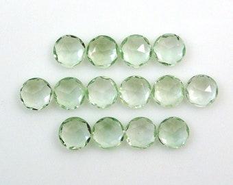 Green Amethyst Rose Cut Semi Precious Loose Jewelry Making Gemstone