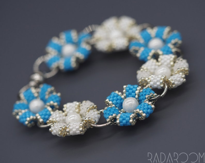 blue and white Jewelry Seed Bead Bracelet Gift Women/'s Accessory Flower Bracelet Flower Bracelet For Women Handmade