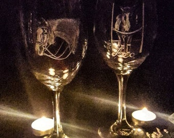 Bespoke Glassware Set of Four, Custom Gift, Personalized Gift.