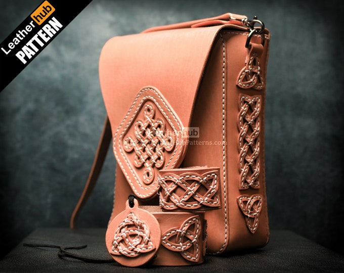 Celtic knots bag leather pattern PDF - by Leatherhub