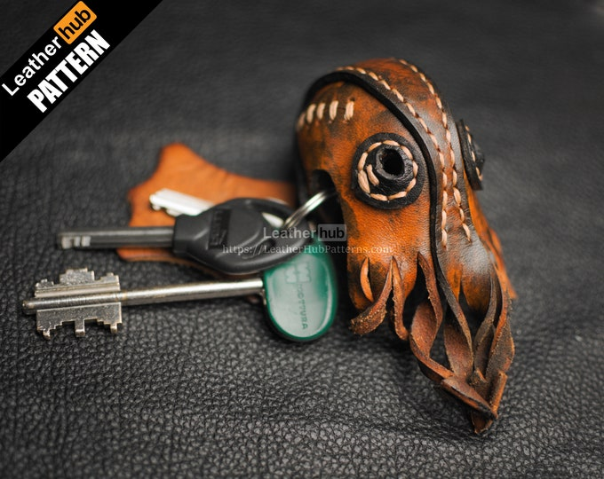 Cthulhu keychain leather pattern PDF - by Leatherhub