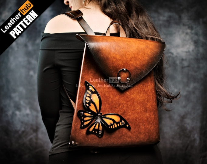 Leather backpack pattern PDF - by Leatherhub