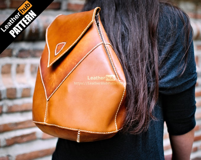 Ladies leather backpack pattern PDF - by Leatherhub