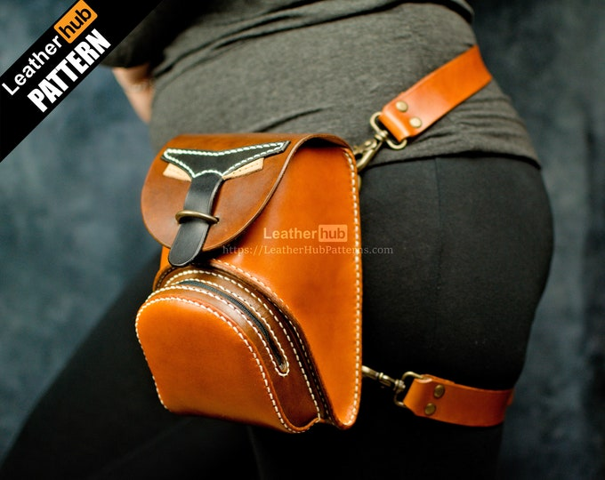 Leather waist bag pattern PDF - by Leatherhub
