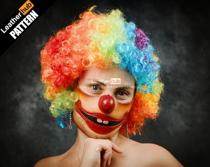 Clown mask leather pattern PDF - by Leatherhub