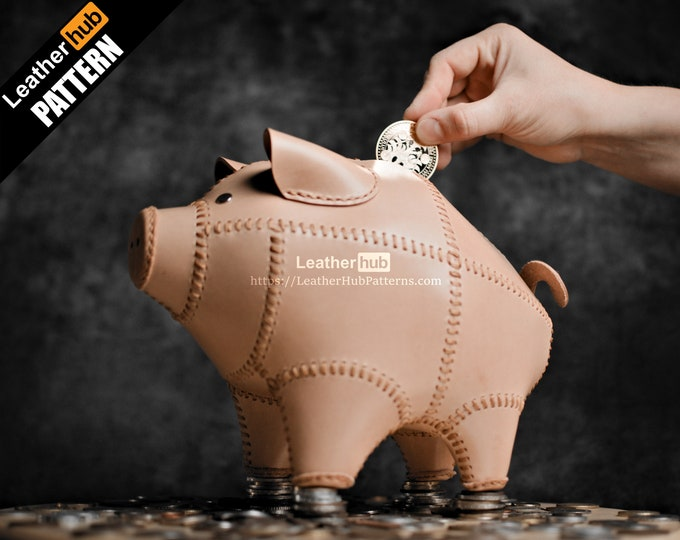 Piggy bank leather pattern PDF - by Leatherhub