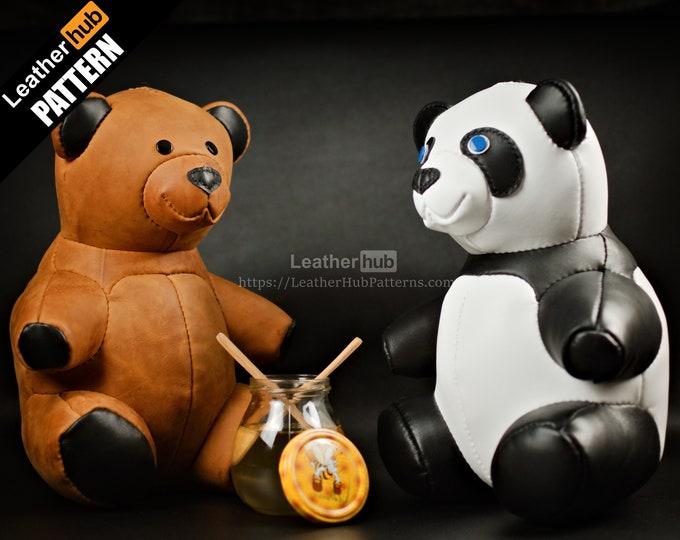 Teddy bear leather pattern PDF - by Leatherhub