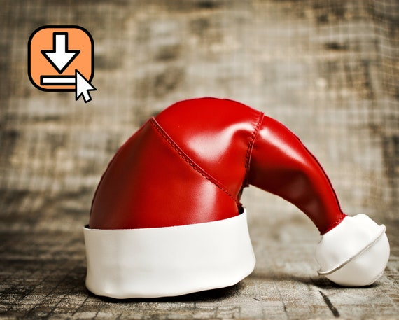 Leather pattern PDF template for crafting a Santa hat with video tutorial