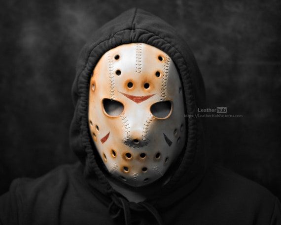 Hockey leather mask pattern - leather PDF template - leather craft tutorial - Halloween creepy mask