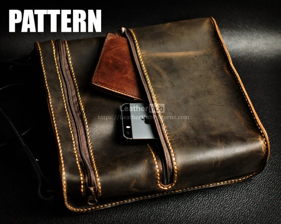 Leather man bag pattern - PDF template and build instructions