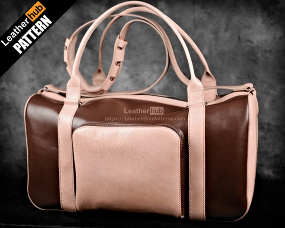 Leather duffle bag pattern - Weekender gym bag pattern - PDF leather template for DIY leather craft - Travel bag pattern with video tutorial