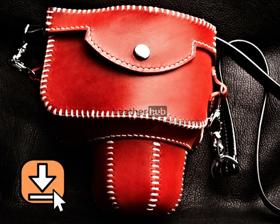 Leather pattern PDF template and video tutorial for hand crafting a camera case