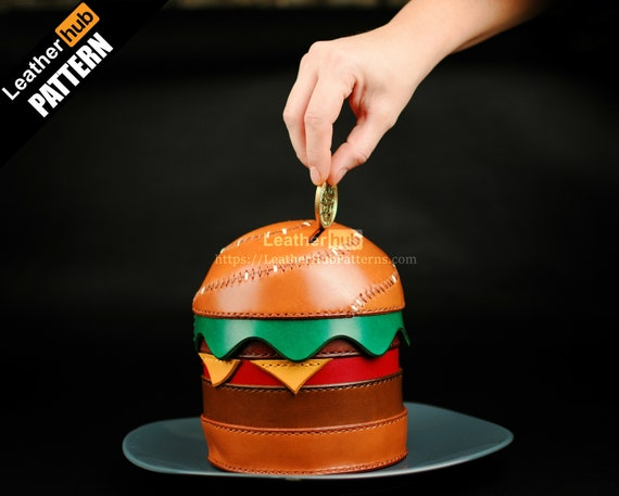 Burger leather pattern PDF - Another piggy bank - by Leatherhub