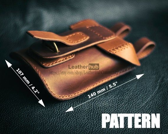 Leather pattern for a men's hip pouch with PDF template and full assembly guide