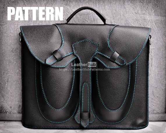 Leather laptop bag pattern - PDF template and instructions
