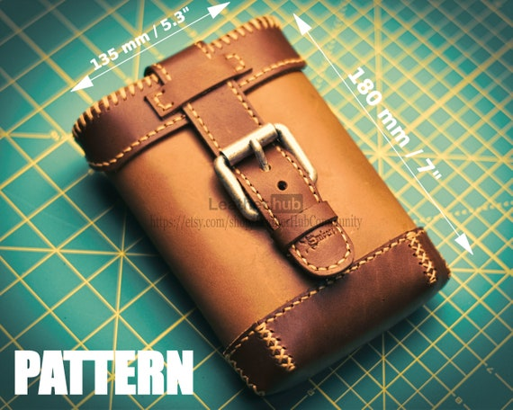 Leather hip pouch pattern - PDF template and build guide