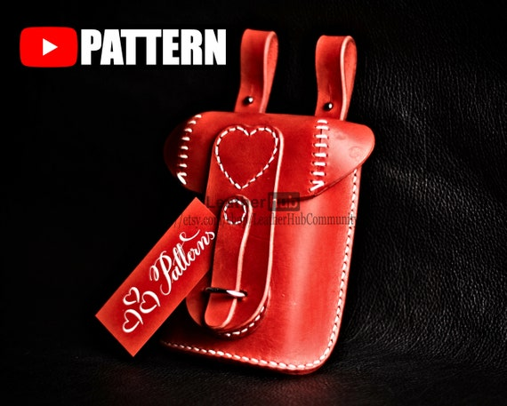 Leather hip bag pattern for ladies - PDF template and instructions