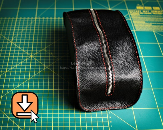 Leather Dopp bag pattern PDF template and guide for hand crafting