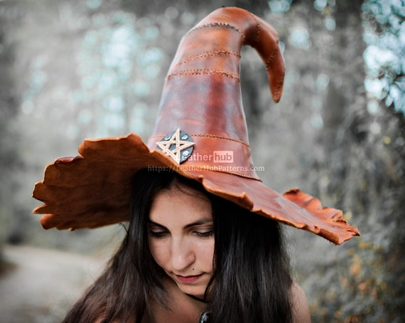 Wicca witch hat pattern for leather craft PDF template for Halloween cosplay / LARP with video tutorial for hand sewing