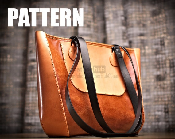 Leather bag pattern for making a ladies tote with template and build along guide