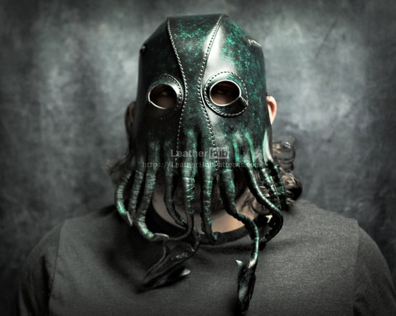 Leather Cthulhu mask pattern PDF template for hand sewing with video tutorial - Halloween Lovecraft octopus cosplay mask for leather craft