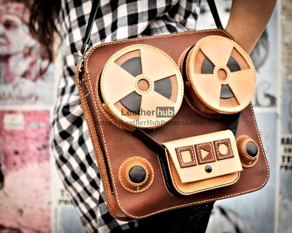 Leather bag pattern PDF - PDF bag template for leather craft - Reel to reel retro looking bag - DIY leather satchel tutorial leather craft