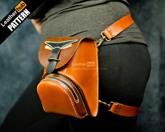 Leather waist bag pattern PDF - by Leatherhub
