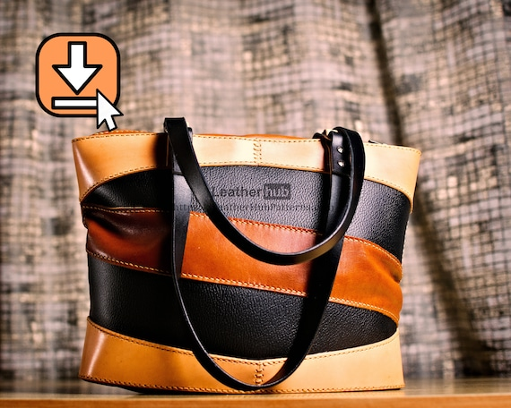 Leather tote bag pattern PDF template for hand crafting