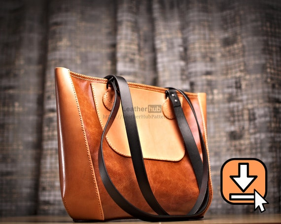 Leather tote bag pattern PDF template and video tutorial for hand crafting