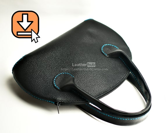 Leather bag pattern PDF template and hand crafting tutorial