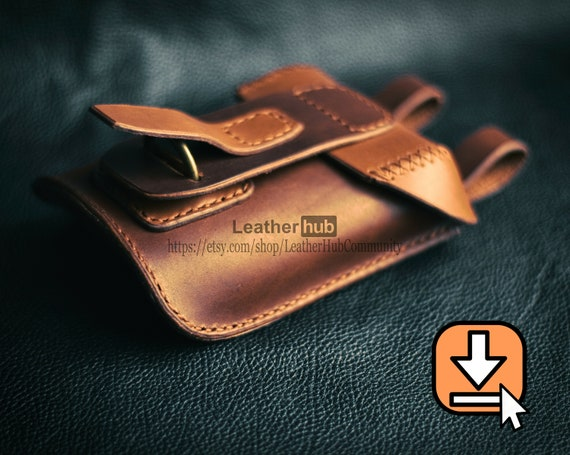 Leather hip bag pattern PDF template with crafting tutorial