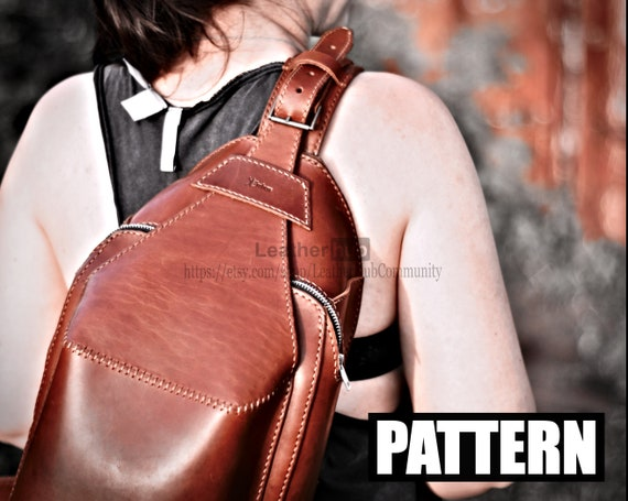 Leather pattern for a men's sling bag with template and tutorial