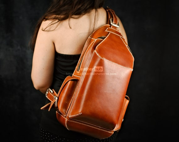 Backpack pattern for leather craft PDF sling bag template for hand sewing with video tutorial