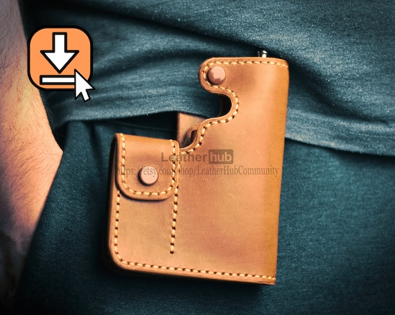 Leather bag pattern PDF template and hand sewing tutorial