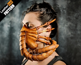 Facehugger mask leather pattern PDF - by Leatherhub
