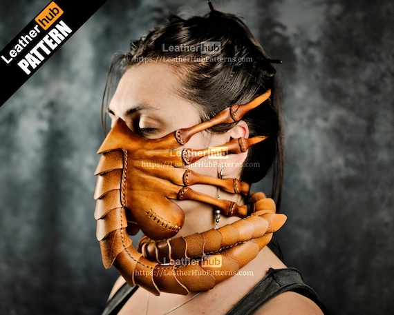 Face hugger mask pattern for leather craft PDF template for hand sewing with video tutorial / Halloween alien face mask for leather working