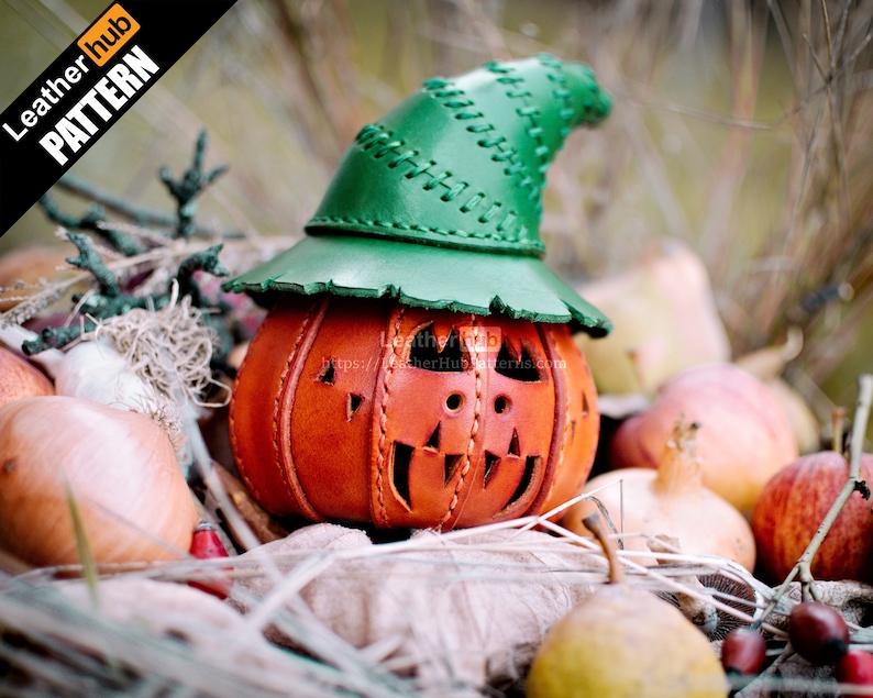 Jack O'Lantern pumpkin leather pattern PDF  by Leatherhub image 0