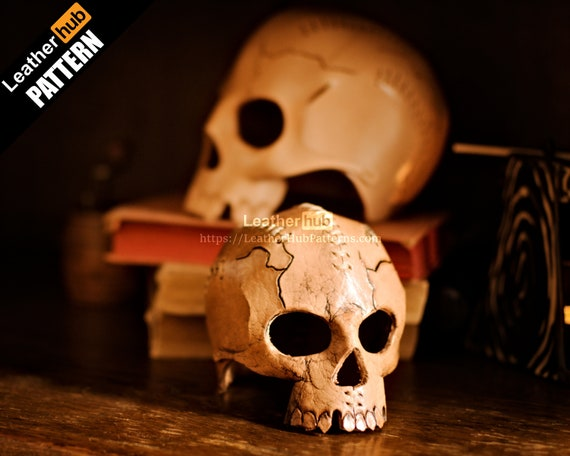 Human skull leather pattern and candle holder for Halloween decorations with PDF template for hand sewing and video tutorial from LeatherHub