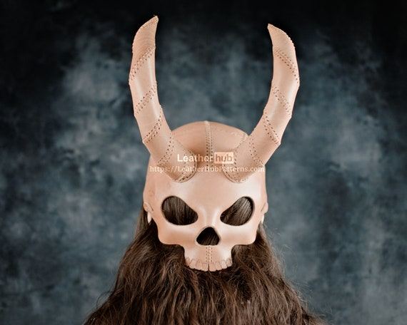 Skull mask helmet pattern for leather craft PDF template for hand sewing with video tutorial \ DIY Halloween mask for leatherwork