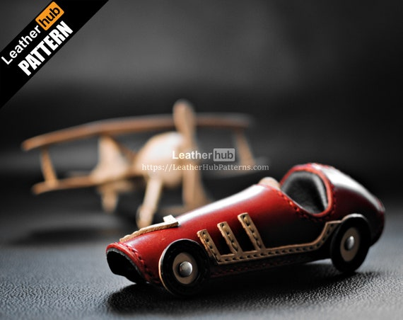 Toy racing car pattern for leather craft with PDF template and video tutorial / Vintage leather car model for leather work / Christmas gifts