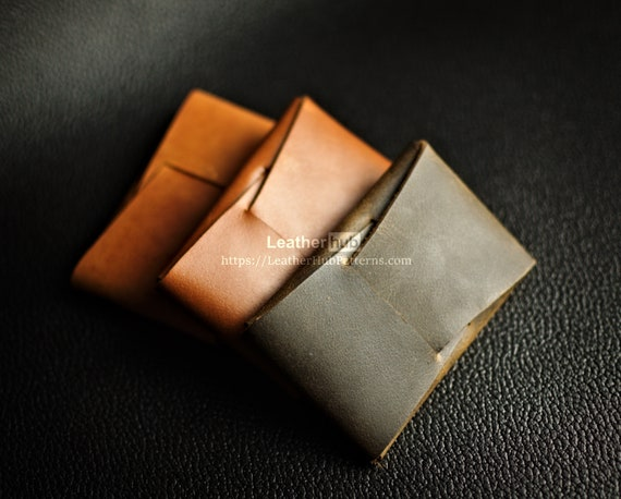 Leather wallet pattern PDF - PDF leather template and video tutorial for making a minimalist leather wallet - DIY leather craft tutorial