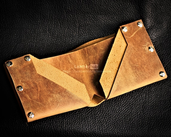 Leather wallet pattern PDF - PDF leather wallet template - DIY riveted wallet pattern with video tutorial - Leather patterns for enthusiasts