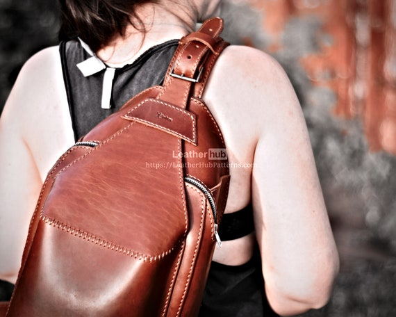 Leather bag pattern PDF - PDF sling bag template  - Backpack pattern tutorial for DIY - Leather pattern for leather craft - Biker bag